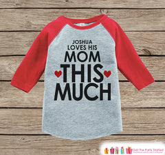 Kids Mother's Day Outfit - Red Raglan Shirt - I Love Mom - Happy Mothers Day Onepiece or Tshirt - Novelty Childrens Raglan Tee - Hashtag