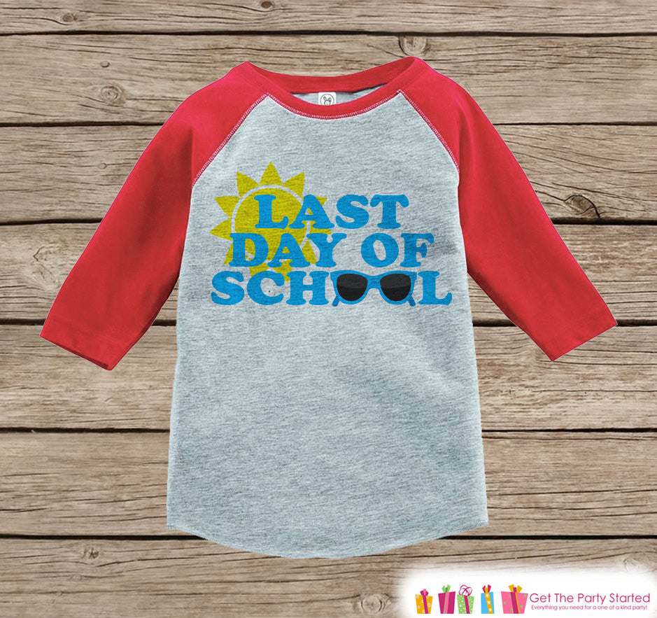 Kids Last Day of School Outfit - Red Raglan - Last Day of School Shirt - Kindergarten, Preschook, Pre-K - Last Day of School - Girls or Boys - 7 ate 9 Apparel
