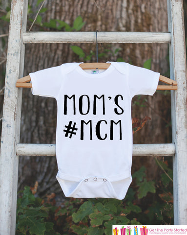 Kid's Mother's Day Outfit - Mom's #MCM Onepiece or Tshirt - Boy Baby Shower Gift Idea - New Mommy Gift - First Mothers Day - Hashtag Shirt