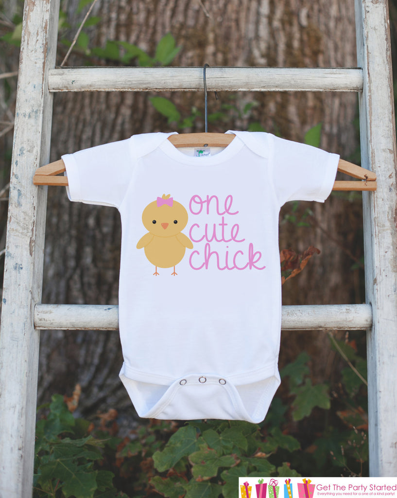 Kids Easter Outfit - One Cute Chick Onepiece or Tshirt- Girls Novelty Baby Chick Outfit - Girl Chick Easter Bodysuit - Kids Spring Outfit