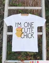 Girls Easter Outfit - I'm One Cute Chick Onepiece or Tshirt- Girls Baby Chick Outfit - Girl Baby Chick Easter Bodysuit - Kids Spring Outfit