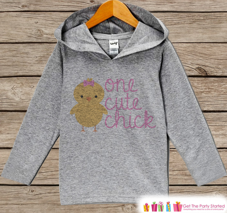 Novelty Girls Easter Outfit - One Cute Chick Hoodie - Easter Spring Pullover - Baby Chick Girls Easter Outfit - Humorous Grey Toddler Hoodie