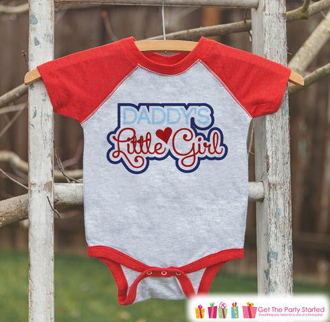Baby Girl's Father's Day Outfit - Red Raglan Shirt - Daddy's Little Girl Outfit - Happy Fathers Day Gift Idea Onepiece or Tshirt for Girls