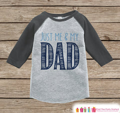 Kids Father's Day Outfit - Grey Raglan Shirt - Just Me and My Dad Outfit - Happy Fathers Day Gift, Onepiece or Tshirt for Baby Boys or Girls - 7 ate 9 Apparel