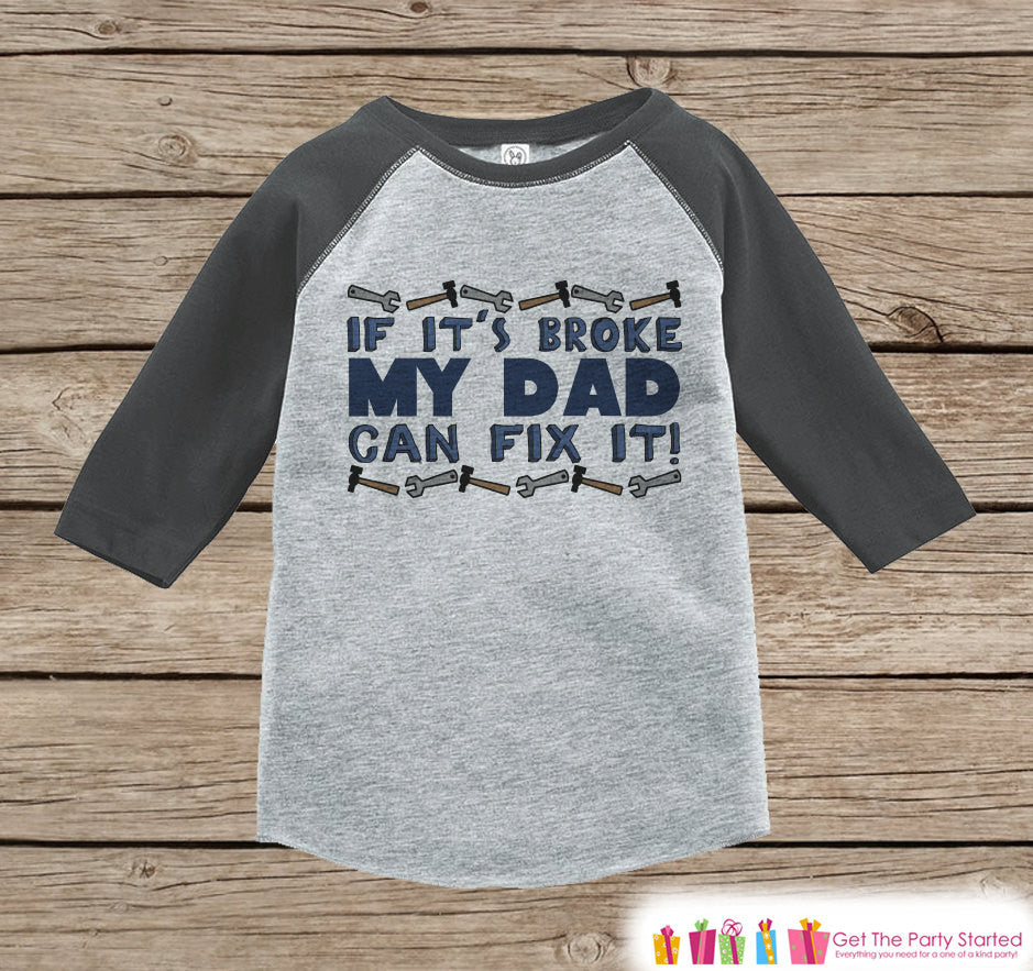 Kids Father's Day Outfit - Grey Raglan Shirt - My Dad Can Fix It Outfit - Boys Happy Fathers Day Gift Idea Onepiece or Tshirt for Kids - 7 ate 9 Apparel