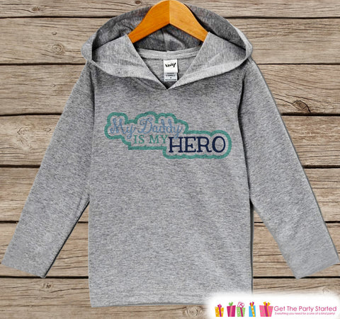Baby Boy's Father's Day Hoodie - Grey Kids Hoodie - Daddy Is My Hero - Military Outfit - Toddler Boys Happy Fathers Day Shirt - 4th of July - 7 ate 9 Apparel