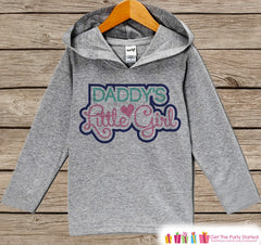 Girls Father's Day Hoodie - Grey Kids Hoodie - Daddy's Little Girl - Pink Toddler Happy Fathers Day Outfit - Novelty Girls Fathers Day Gift - 7 ate 9 Apparel