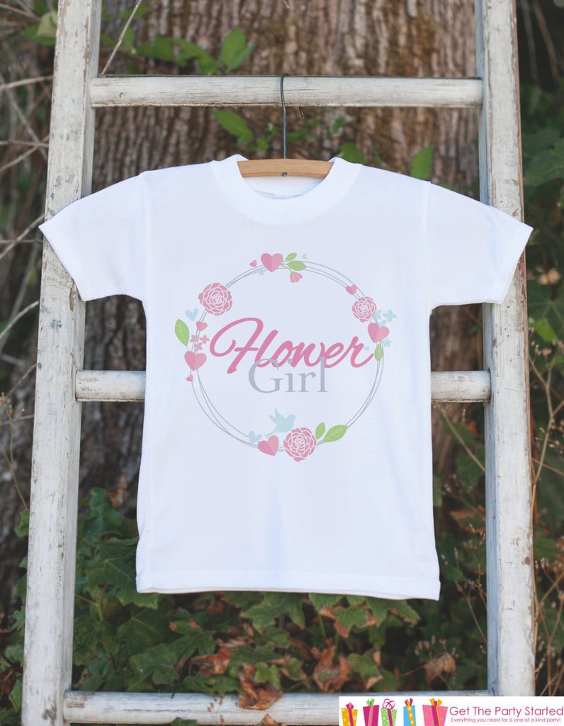 Flower Girl Outfit - Pink Floral Flower Girl T-shirt Girls - Will you be my Flowergirl - Wedding Rehearsal Shirt - Flower Girl Gift Idea - 7 ate 9 Apparel