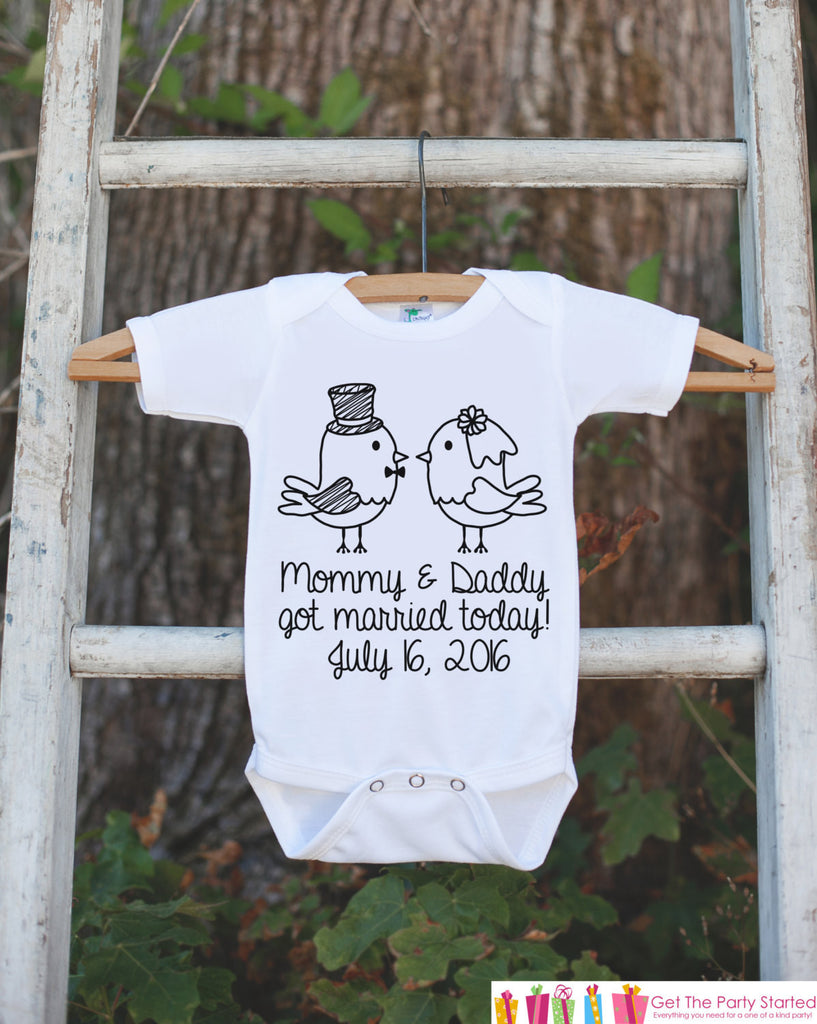 Kids Wedding Outfit - Mommy & Daddy Got Married Today T-shirt or Onepiece - Kids Wedding Shirt - Proposal Tee - Kids Wedding Keepsake - 7 ate 9 Apparel