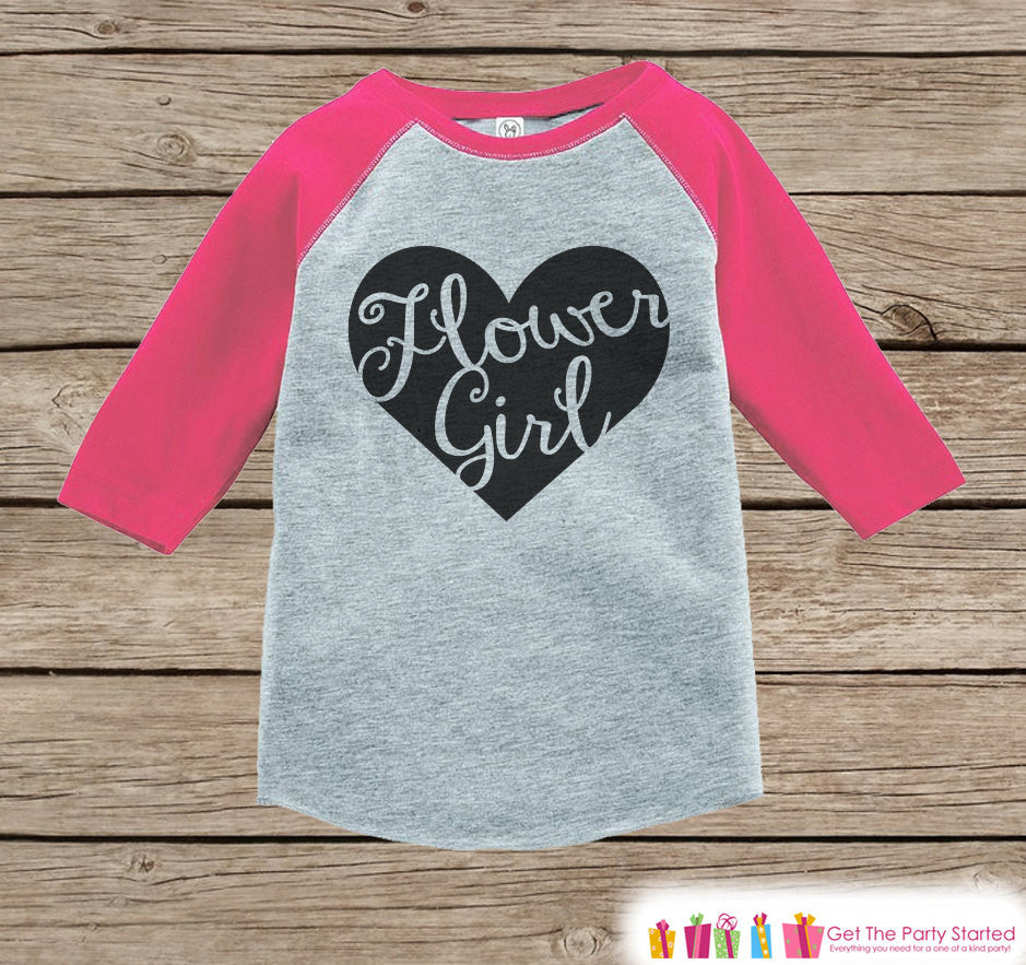 Flower Girl Outfit - Black Heart Flower Girl T-shirt Girls - Pink Raglan Tee or Onepiece - Will you be my Flowergirl - Flower Girl Gift - 7 ate 9 Apparel