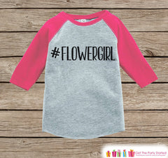 Flower Girl Outfit - #Flowergirl T-shirt Girls - Pink Raglan Tee or Onepiece - Will you be my Flowergirl - Novelty Hashtag Flower Girl Gift - 7 ate 9 Apparel