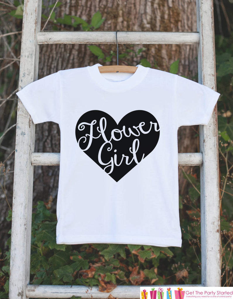 Flower Girl Outfit - Black Heart Flower Girl T-shirt Girls - Will you be my Flowergirl - Wedding Rehearsal Shirt - Flower Girl Gift Idea - 7 ate 9 Apparel