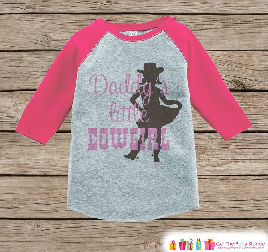 Novelty Girl's Outfit - Daddy's Little Cowgirl Pink Raglan Shirt - Pink Baby Girl Onepiece or Tshirt - Novelty Raglan Tee - Fathers Day Gift - 7 ate 9 Apparel