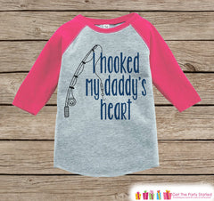 Girls Father's Day Outfit - Pink Raglan Shirt - Hooked Daddys Heart Fishing Happy Father's Day Onepiece or Tshirt - Childrens Raglan Tee