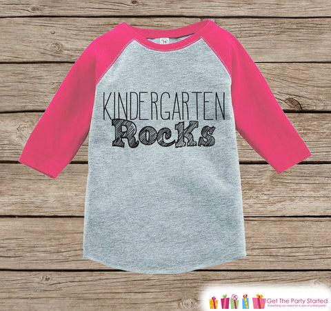 Back to School Outfit - Pink Girls Kindergarten Rocks Tee - Girls Pink Raglan Kindergarten Rocks Tshirt - Kids Kindergarten Shirt - Pink Top
