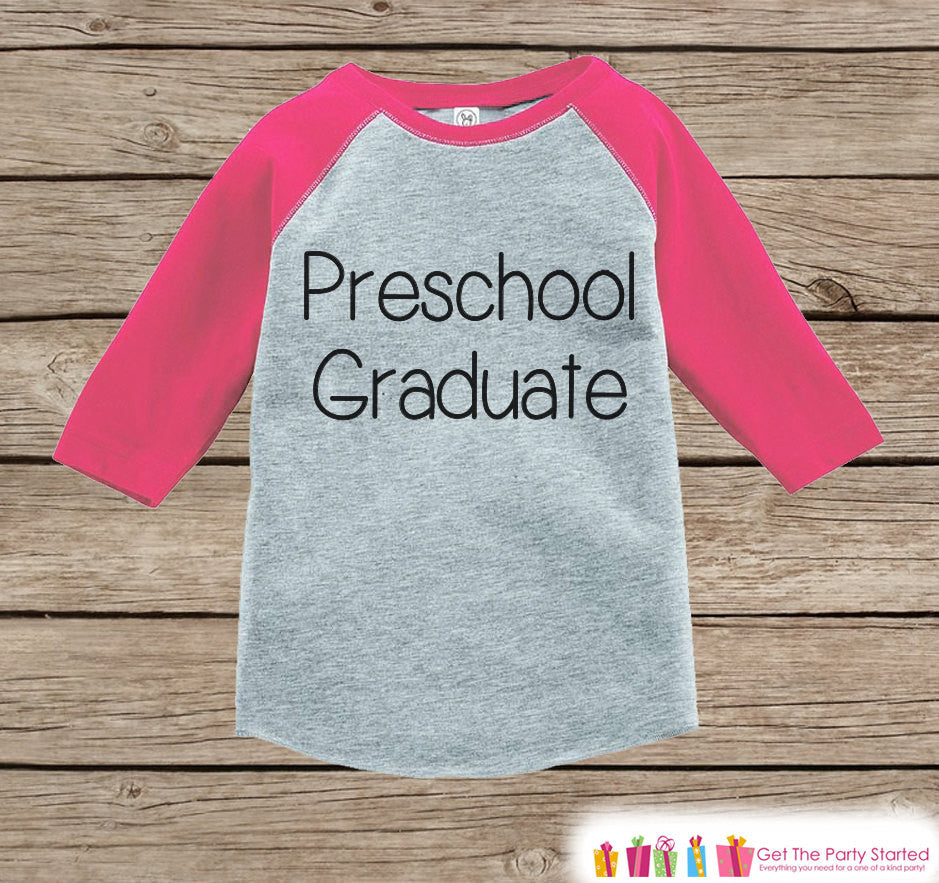 Kids Preschool Graduate Outfit - Girls Preschool Graduation - Pink Preschool Tee - Pink Raglan - Last Day of School Shirt - Kids Graduation - 7 ate 9 Apparel