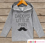 Boys Fathers Day Mustache Hoodie - Grey Kids Hoodie - Daddy's Little Man - Toddler Happy Fathers Day Outfit - Novelty Fathers Day Gift Boys - 7 ate 9 Apparel