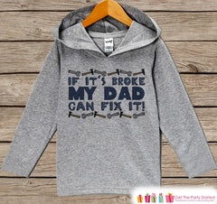 Kids Fathers Day Hoodie - Grey Kids Hoodie - Dad Can Fix It - Handyman Toddler Happy Fathers Day Outfit - Novelty Boys Fathers Day Gift Idea - 7 ate 9 Apparel
