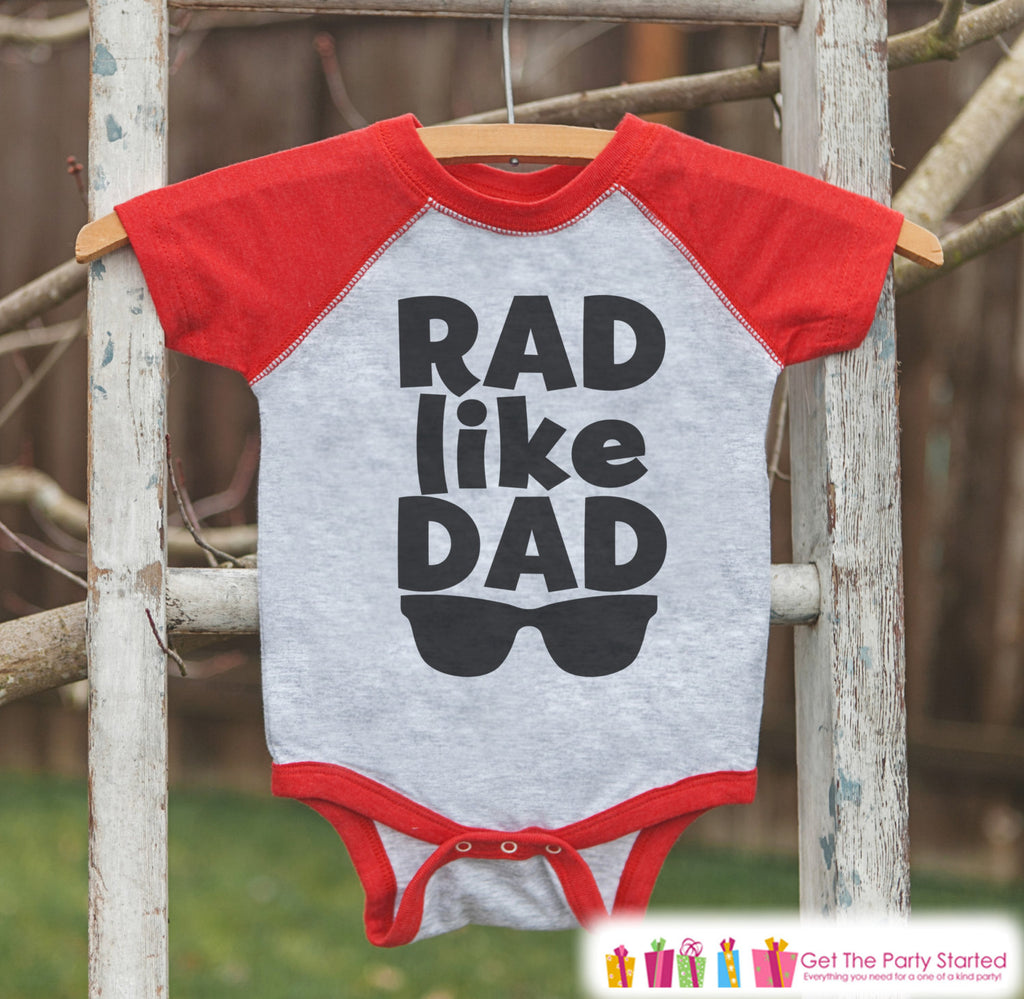 Boys Father's Day Outfit - Red Raglan Shirt - Rad Like Dad - Happy Fathers Day Gift, Baby Boys Onepiece or Shirt - Toddler Infant - Mini Me