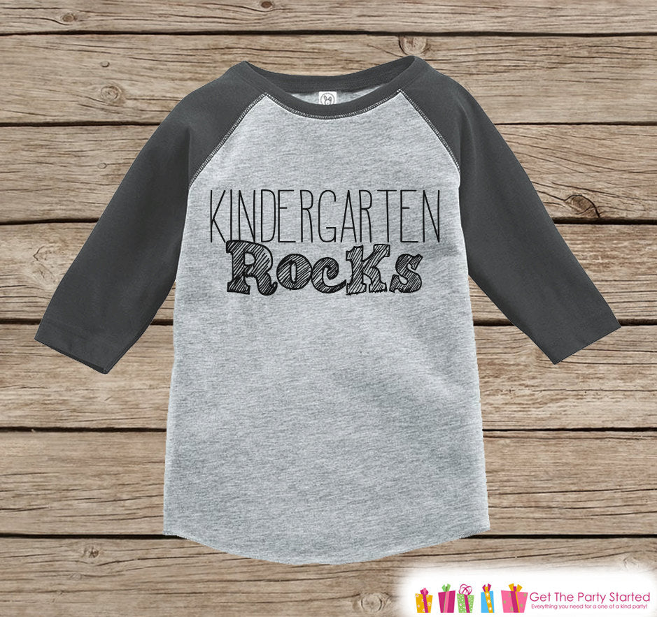 Kids School Outfit - Kindergarten Rocks - Boys Grey Raglan Kindergarten Rocks Tshirt - Kids Kindergarten Shirt - Kids Back To School Top