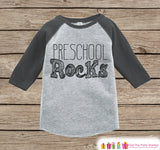 Boys Preschool Rocks Tee - Kids Back to School Outfit - Boys Grey Raglan Preschool Rocks Tshirt - Kids Preschool Shirt - Toddler Top Shirt