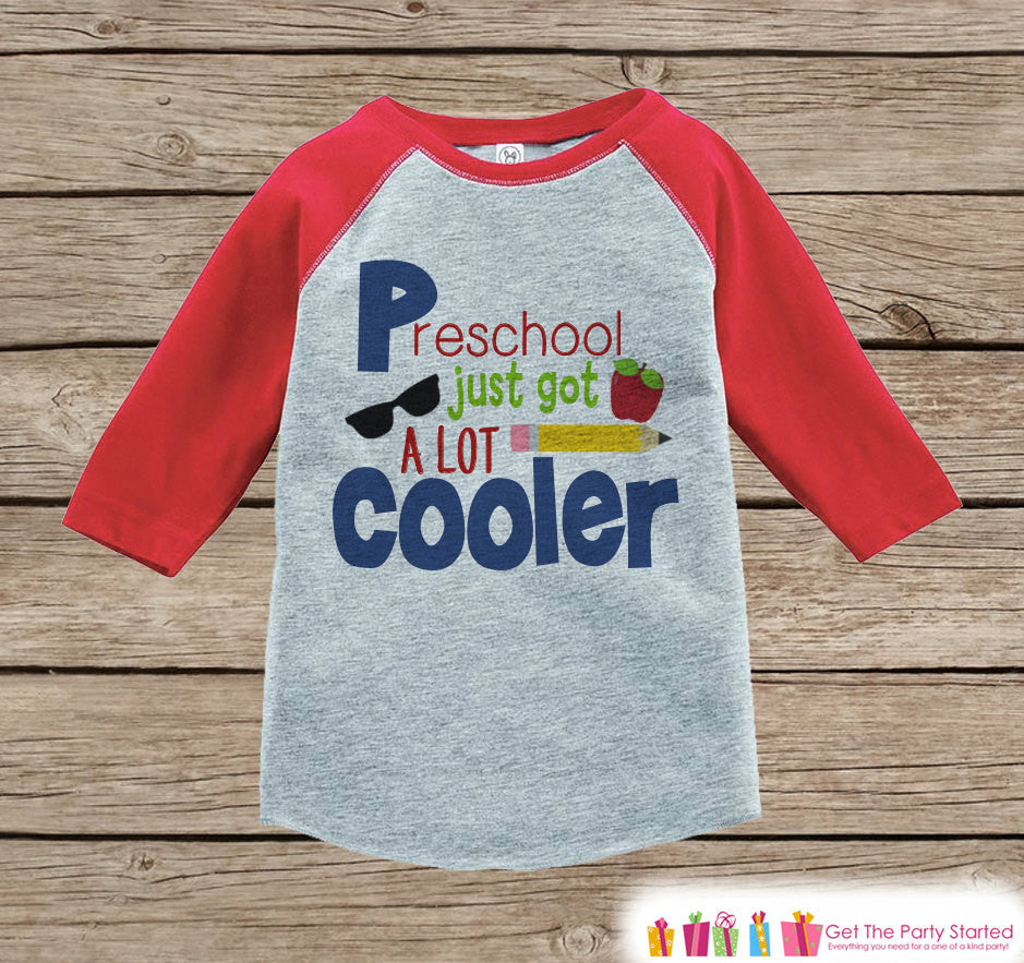 Boys Back to School Shirt - 1st Day of Preschool Outfit - Boys Red Raglan Tee - Toddler Boy My 1st Day of School Tshirt - Back to School Top - 7 ate 9 Apparel