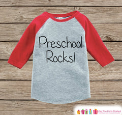Kids Preschool Rocks Tee - Boys Back to School Shirt - Boys Red Raglan Preschool Rocks Tshirt - Kids Preschool Outfit - Toddler Top Shirt - 7 ate 9 Apparel