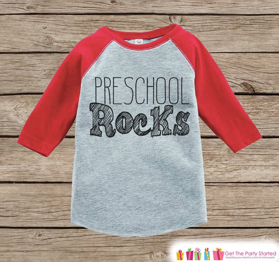Kids School Tshirt - Kindergarten Rocks Tee - Boys Red Raglan Kindergarten Rocks Outfit - Kids Kindergarten Shirt - Grey Back To School Top
