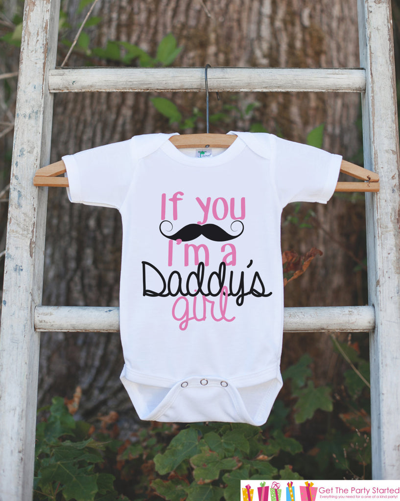 Daddy's Little Girl - Mustache - Happy Fathers's Day Onepiece or Tshirt - Youth, Toddler, Kids, Baby Shower Gift Idea - First Fathers Day
