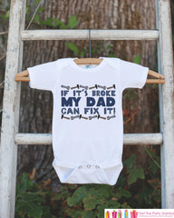 Boys My Dad Can Fix It Shirt - Boys Happy First Father's Day Onepiece or Tshirt - Boys, Youth, Toddler, Kids, Baby Shower Gift Idea - 7 ate 9 Apparel