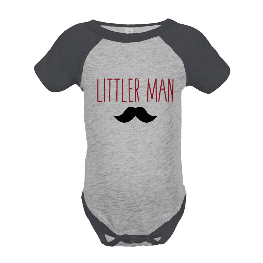 Boys Littler Man Onepiece - Mustache Grey Raglan Onepiece - Big Man Little Man - Big Brother Little Brother Outfits - Happy Fathers Day Gift - 7 ate 9 Apparel