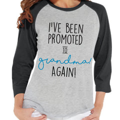 Pregnancy Announcement - Promoted to Grandma Again Shirt - Grey Raglan Shirt - Pregnancy Reveal Idea - Surprise New Grandparents - Its a Boy - 7 ate 9 Apparel