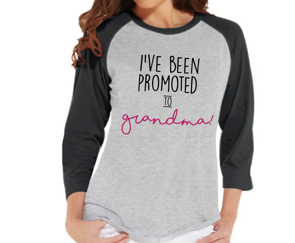 Pregnancy Announcement - Promoted to Grandma Shirt - Grey Raglan Shirt - Pregnancy Reveal Idea - Surprise New Grandparents - Its a Girl