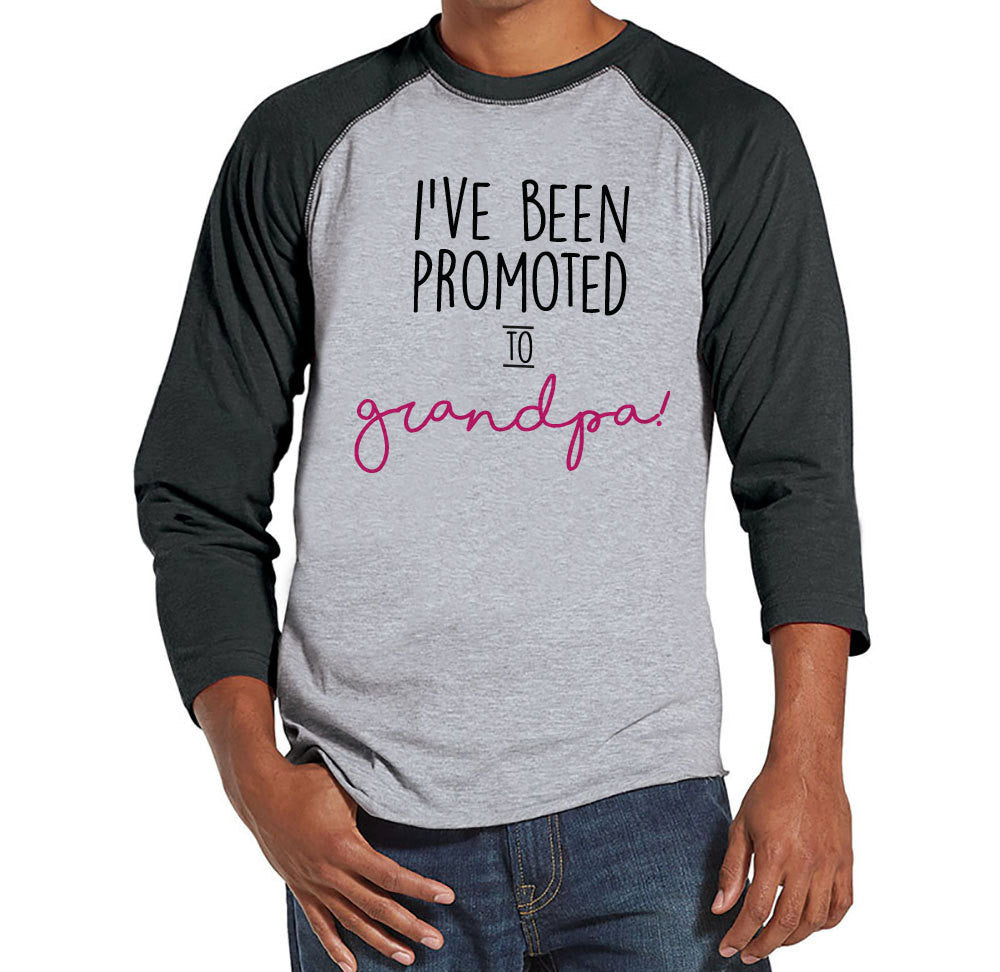 Pregnancy Announcement - Promoted to Grandpa Shirt - Mens Grey Raglan Shirt - Pregnancy Reveal Idea - Surprise New Grandparents - Its a Girl - 7 ate 9 Apparel
