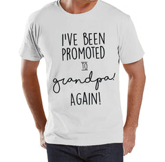 Pregnancy Announcement - Promoted to Grandpa Again - Mens White T Shirt - Pregnancy Reveal Idea - Surprise New Grandparents - Grandpa