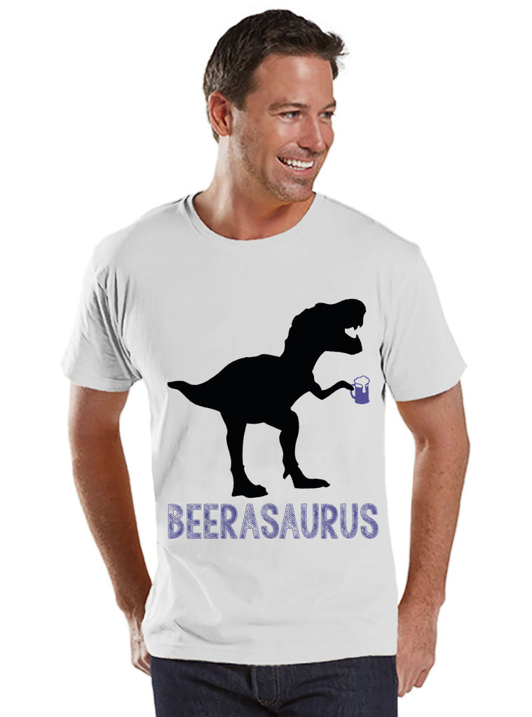 Mens Dinosaur Beer Shirt - Mens White T-Shirt - Beer Shirt - Funny TShirt for Him - Beer Lover Gift Idea - Dinosaur Lover Gift - White Tee