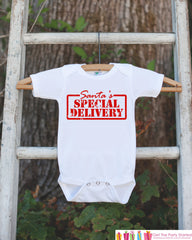 Santa's Special Delivery Outfit - Christmas Onepiece - Pregnancy Announcement - Baby Holiday Outfit - Newborn Christmas Gift for Boy or Girl - 7 ate 9 Apparel