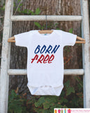 Kids 4th of July Outfit - Born Free Onepiece or Tshirt - Fourth of July Shirt for Baby, Toddler, Youth - Kids Patriotic Shirt Red White Blue - 7 ate 9 Apparel