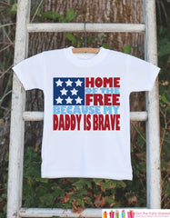Home of the Free Military Dad Tshirt for kids