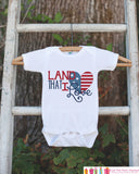 Kids 4th of July Outfit - Land That I Love Onepiece or Tshirt - Fourth of July Shirt for Baby, Toddler, Youth - Kids Patriotic Shirt - 7 ate 9 Apparel