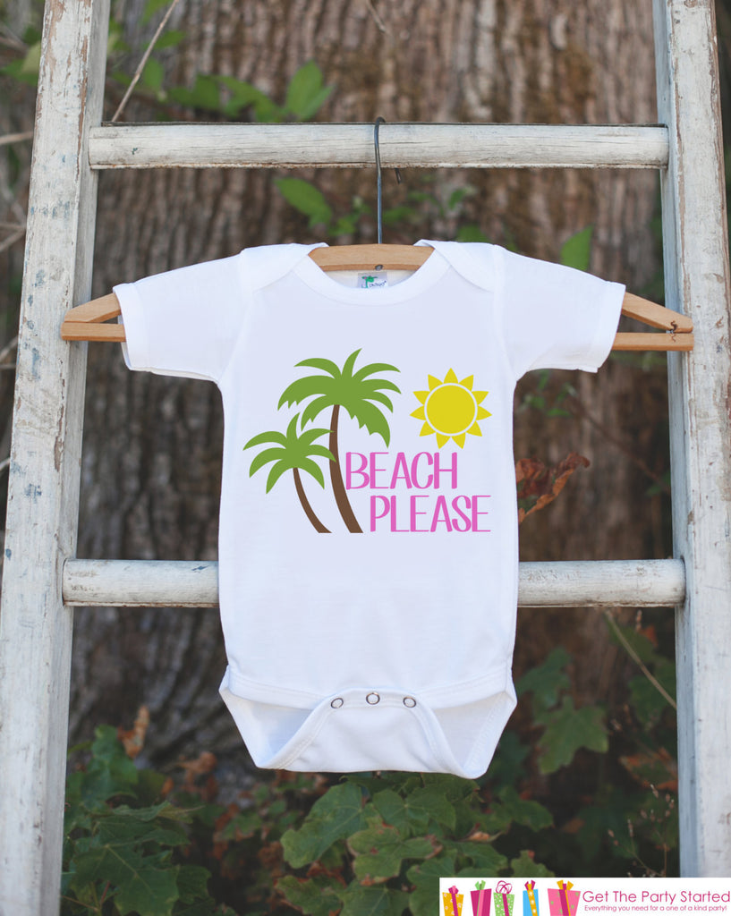 Beach Please Onepiece or Tshirt - Summer Outfit - Pink Summer Onepiece or Shirt, Baby, Youth, Toddler - Summer Beach Outfit For Kids - 7 ate 9 Apparel