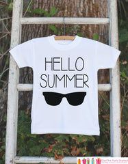 Hello Summer Onepiece or Tshirt - Summer Outfit For Kids, Infants -  Summer Onepiece or Shirt, Baby, Youth, Toddler - Summer Sunglasses - 7 ate 9 Apparel