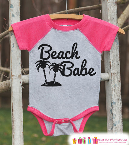 Beach Babe Onepiece or Raglan - Summer Outfit For Girls - Pink Baseball Tee or Onepiece - Fun Summer Outfit for Baby, Youth, Toddler - 7 ate 9 Apparel