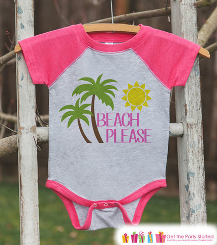 Beach Please Onepiece or Raglan - Fun Summer Outfit For Kids - Pink Baseball Tee or Onepiece for Baby, Youth, Toddler - 7 ate 9 Apparel