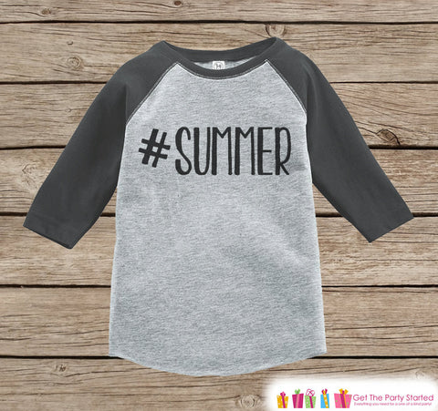 Hashtag Summer Onepiece or Raglan - Summer Outfit For Kids - Grey Baseball Tee or Onepiece - Fun Summer Outfit for Baby, Youth, Toddler - 7 ate 9 Apparel