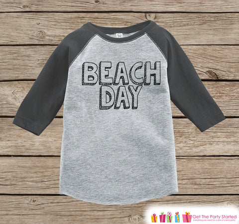 Beach Day Onepiece or Raglan - Fun Summer Outfit, Kids - Grey Baseball Tee or Onepiece - Summer Outfit for Baby, Youth, Toddler