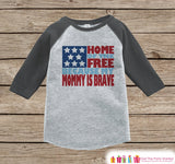 4th of July Outfit - Military Mom Onepiece or Tshirt - Kids Grey Raglan, Baseball Shirt - Mommy Is Brave Onepiece or T-shirt - 7 ate 9 Apparel