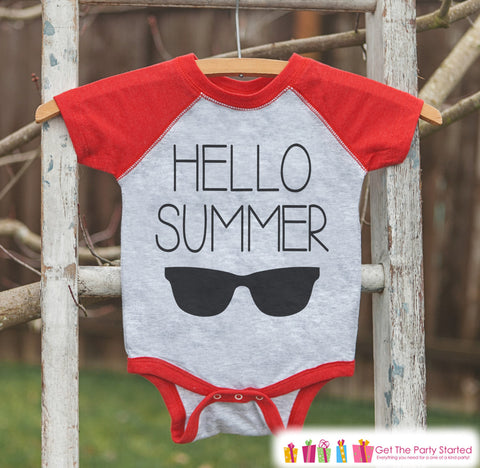 Hello Summer Sunglasses Onepiece or Raglan - Summer Outfit For Kids - Red Baseball Tee - Fun Summer Outfit for Baby, Youth, Toddler - 7 ate 9 Apparel