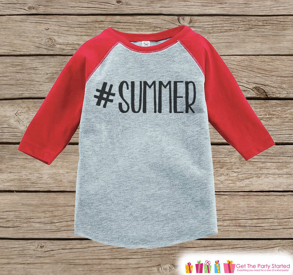 Hashtag Summer Onepiece or Raglan - Summer Outfit For Kids - Red Baseball Tee or Onepiece - Fun Summer Outfit for Baby, Youth, Toddler - 7 ate 9 Apparel