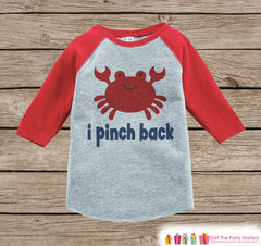 I Pinch Back Crab Onepiece or Raglan - Summer Outfit For Kids - Red Baseball Tee or Onepiece - Fun Summer Outfit for Baby, Youth, Toddler